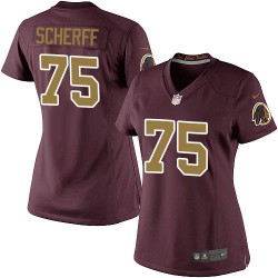 Nike Women's Elite Burgundy Red 80th Anniversary Alternate Jersey Washington Redskins Brandon Scherff 75